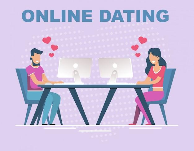Banner de namoro on-line com pessoas que têm relação