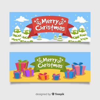 Banner de natal bonito conjunto em design plano