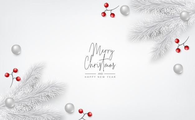 Banner de natal, cartão com elementos decorativos realistas em fundo madeira