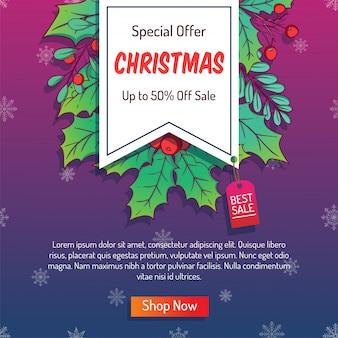 Banner de natal colorido para publicidade ou venda de compras