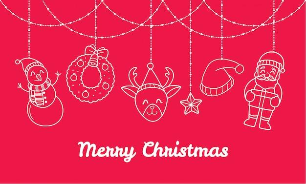 Banner de natal com decorações fofos