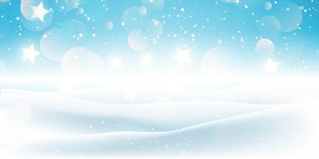 Banner de natal com desenho de paisagem de neve