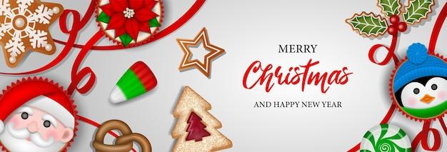 Banner de natal com doces, biscoitos e bolos