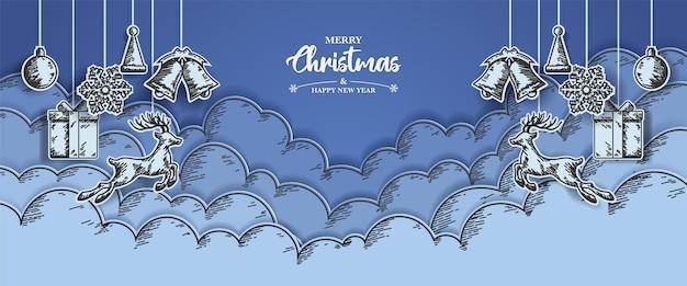 Banner de natal com esboço de desenho e desenho de corte de papel