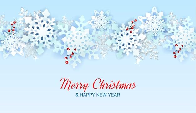 Banner de natal com flocos de neve com berrys