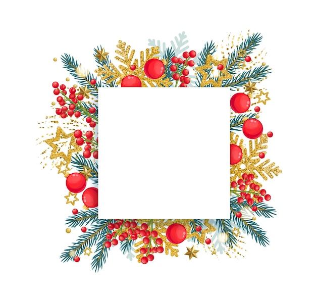 Banner de natal com galhos de pinheiro, enfeites de ouro e bagas vermelhas de azevinho.