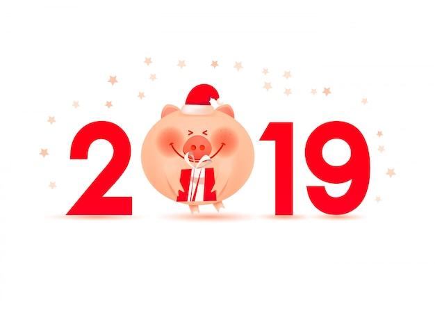 Banner de natal com porco de papai noel