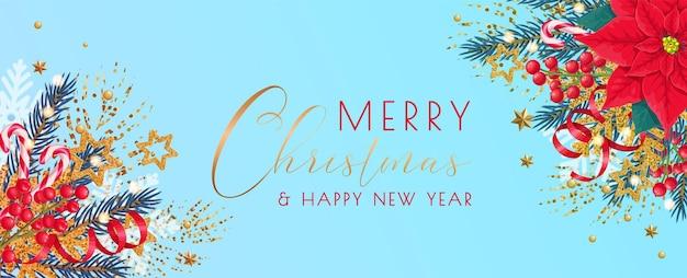 Banner de natal com ramos de abeto, poinsétia, flocos de neve, enfeite de natal e bagas de azevinho.