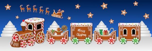 Banner de natal com trem de gengibre e doces Vetor Premium
