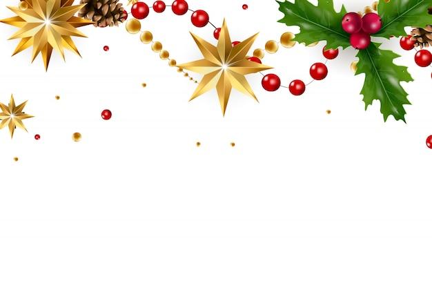 Banner de natal com uma composição de elementos festivos como estrela dourada, bagas, decorações para a árvore de natal, galhos de pinheiro. cartão de natal chique. feliz natal e feliz ano novo.