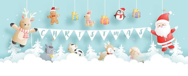Banner de natal, comemorações com papai noel e amigos Vetor Premium