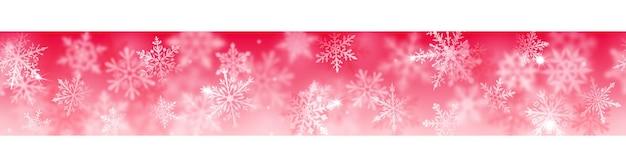 Banner de natal de complexos flocos de neve turva e claros em cores brancas sobre fundo vermelho. com repetição horizontal