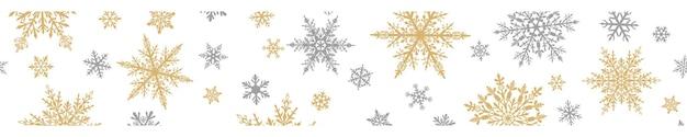 Banner de natal de complexos grandes e pequenos flocos de neve nas cores cinza e amarelas sobre fundo branco. com repetição horizontal