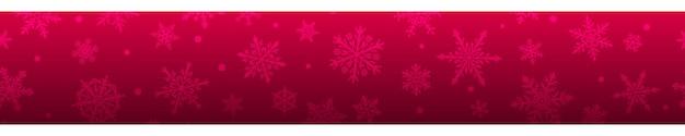 Banner de natal de complexos grandes e pequenos flocos de neve nas cores vermelhas e roxas. com repetição horizontal