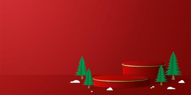Banner de natal do pódio 3d geométrico para publicidade de produtos