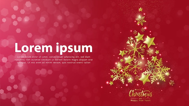 Banner de natal e ano novo com árvore de natal feita de estrelas douradas e flocos de neve contra fundo vermelho bokeh