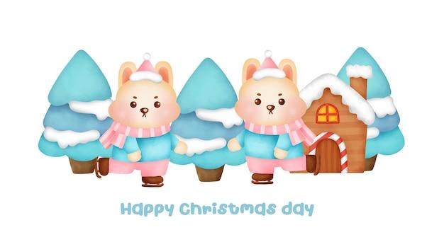 Banner de natal e ano novo com coelhos bonitos.