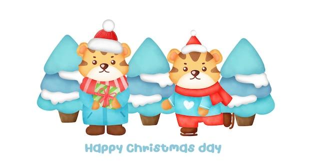 Banner de natal e ano novo com tigres bonitos.