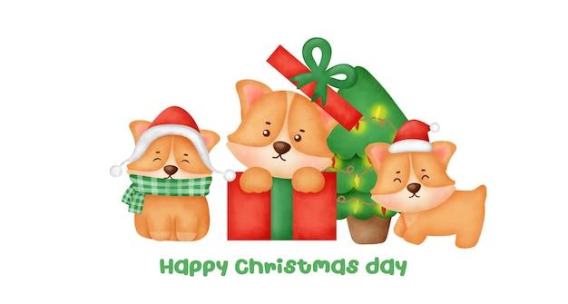 Banner de natal e ano novo com um lindo cachorro corgi e árvore de natal em estilo aquarela.