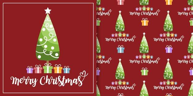 Banner de natal e padrão sem emenda de árvore de natal com caixas de presente coloridas em fundo vermelho