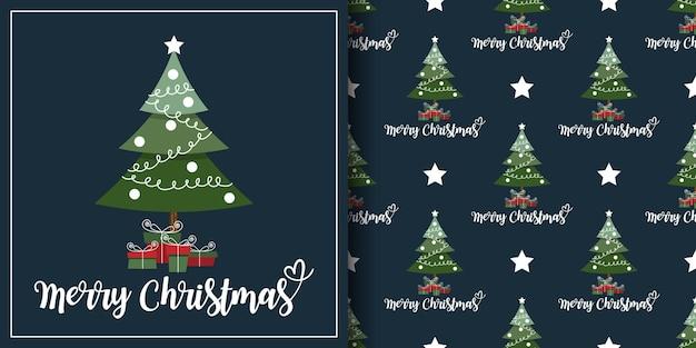 Banner de natal e padrão sem emenda de árvore de natal com caixas de presente e estrelas