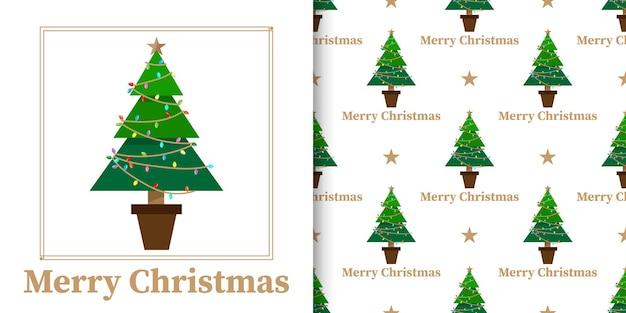 Banner de natal e padrão sem emenda de árvore de natal com estrelas em fundo branco