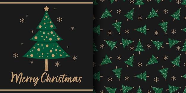 Banner de natal e padrão sem emenda de árvore de natal com flocos de neve em fundo preto