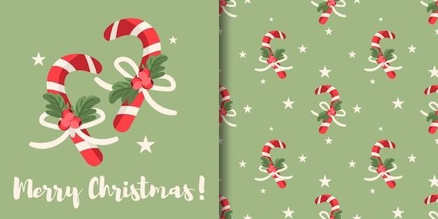 Banner de natal e padrão sem emenda de bastões de doces com galho de bagas de azevinho e estrelas