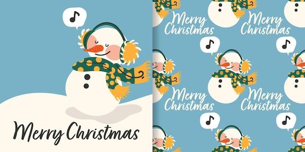 Banner de natal e padrão sem emenda de boneco de neve em roupas de inverno com nota musical na caixa de texto