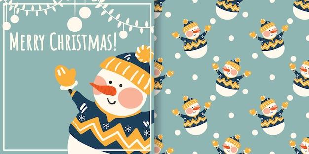 Banner de natal e padrão sem emenda de boneco de neve fofo em roupas de inverno