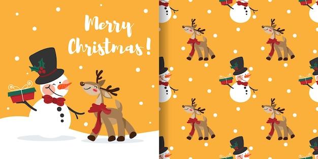 Banner de natal e padrão sem emenda de boneco de neve segurando uma caixa de presente e renas usando lenço vermelho