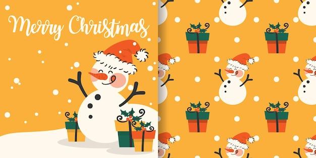 Banner de natal e padrão sem emenda de boneco de neve usam chapéu de papai noel e caixas de presente