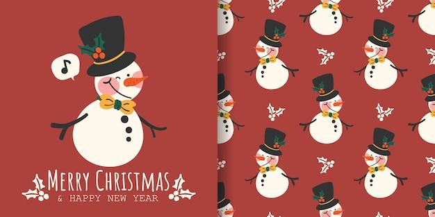 Banner de natal e padrão sem emenda de boneco de neve usam chapéu preto decorado com galhos de bagas de azevinho
