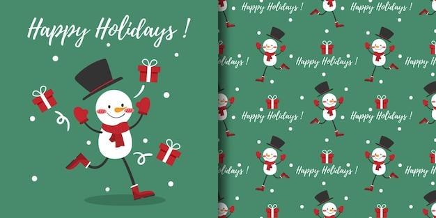 Banner de natal e padrão sem emenda de boneco de neve usam lenço vermelho e caixas de presente