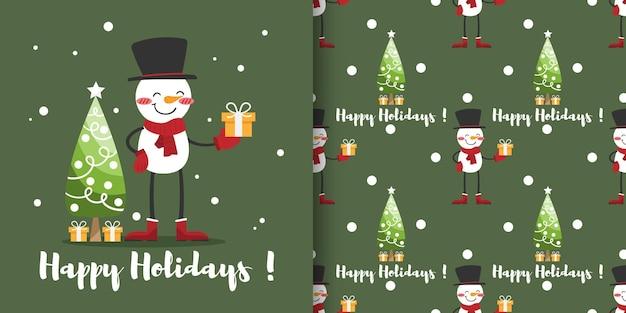 Banner de natal e padrão sem emenda de boneco de neve usam lenço vermelho e chapéu preto com árvore de natal