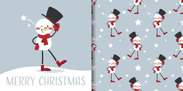 Banner de natal e padrão sem emenda de boneco de neve usam lenço vermelho e chapéu preto com estrelas