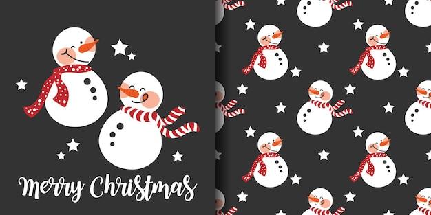 Banner de natal e padrão sem emenda de boneco de neve usam lenço vermelho sobre fundo preto com estrelas