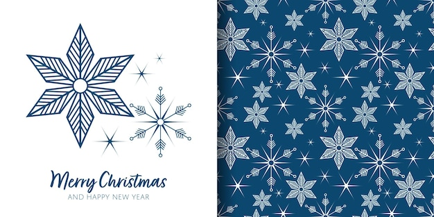 Banner de natal e padrão sem emenda de decoração de flocos de neve em fundo azul