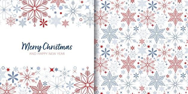 Banner de natal e padrão sem emenda de decoração de flocos de neve em fundo branco