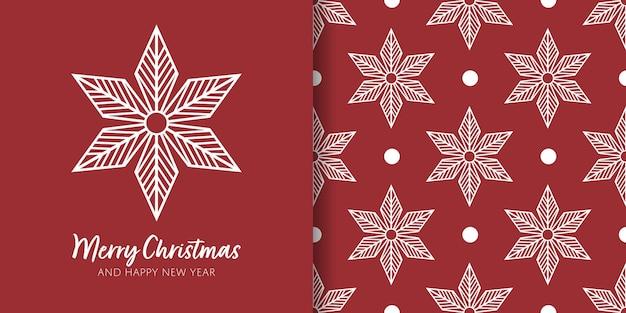 Banner de natal e padrão sem emenda de decoração de flocos de neve em fundo vermelho