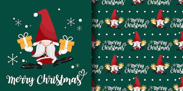 Banner de natal e padrão sem emenda de papai noel com caixa de presente e texto de feliz natal