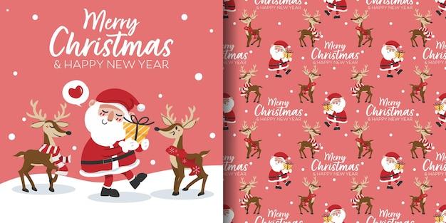 Banner de natal e padrão sem emenda de papai noel segurando uma caixa de presente e renas