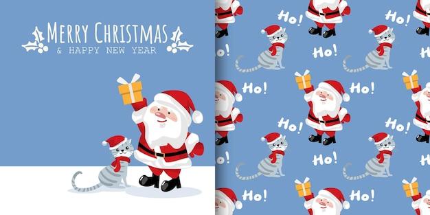 Banner de natal e padrão sem emenda de papai noel segurando uma caixa de presente e um gato usando chapéu de papai noel