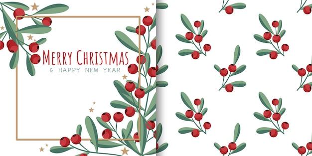 Banner de natal e padrão sem emenda de ramos de bagas de azevinho com folhas verdes e pequenas estrelas