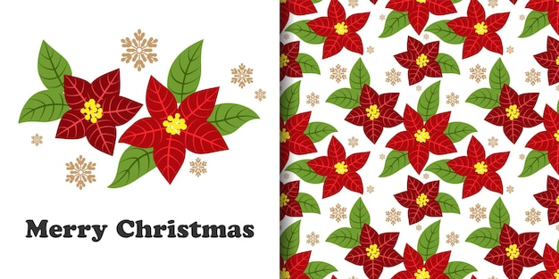 Banner de natal e padrão sem emenda de ramos de flores de poinsétia decorativos com flocos de neve