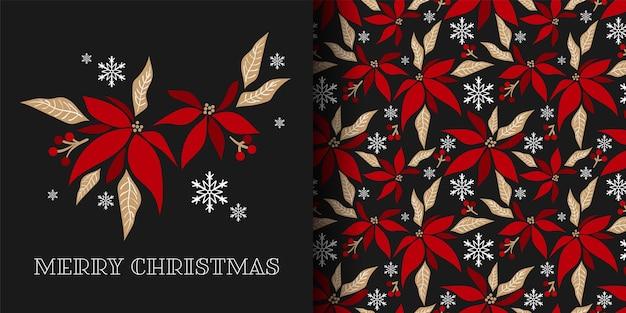 Banner de natal e padrão sem emenda de ramos de flores de poinsétia decorativos