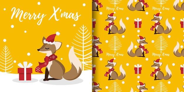 Banner de natal e padrão sem emenda de raposa fofa usam chapéu de papai noel e lenço vermelho com caixa de presente