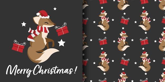 Banner de natal e padrão sem emenda de raposa usam chapéu de papai noel e lenço vermelho com caixa de presente e estrelas