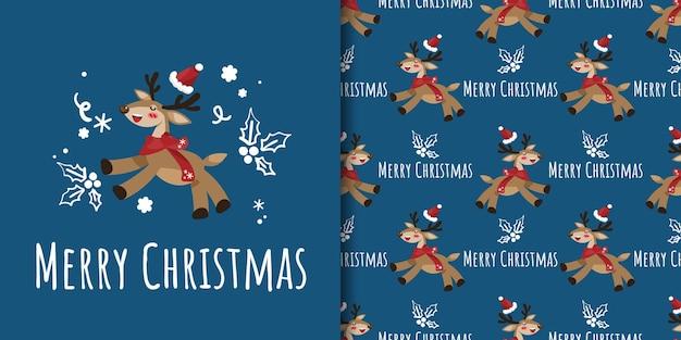 Banner de natal e padrão sem emenda de rena com chapéu de papai noel e doodle de ramo de bagas de azevinho