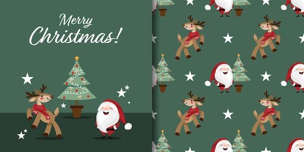 Banner de natal e padrão sem emenda de rena fofa com papai noel e árvore de natal